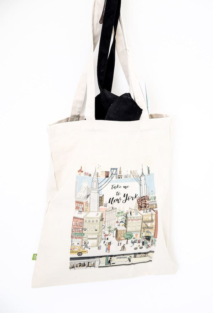 "tote-bag-blanc Guide New York : ""Take me to New York #2"""